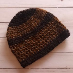 Black and brown handmade wool hat